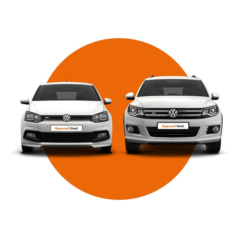 Two Approved Used front facing Volkswagen cars