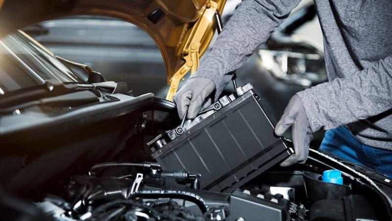 vw Volkswagen stor service med oljeskift servicepriser merkeverksted varebiler bilbatteri