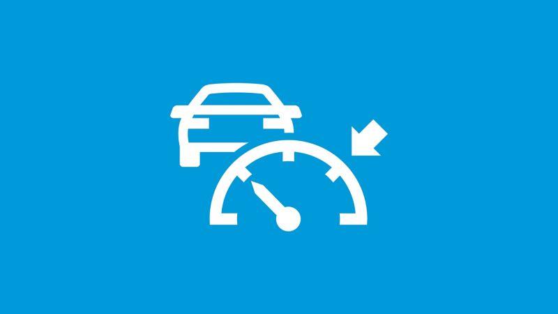 Das Symbol der Automatische Distanzregelung ACC auf blauem Grund.
