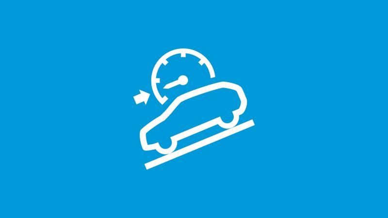 Das Symbol des Bergabfahrassistenten auf blauem Grund.