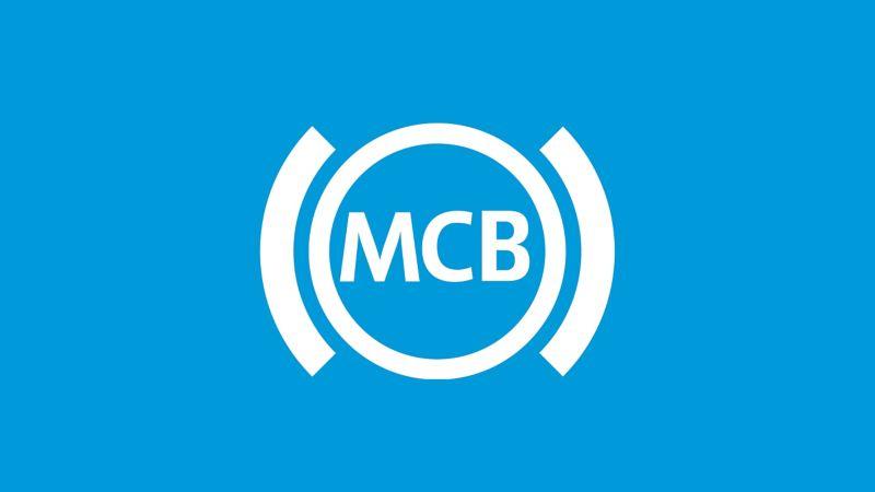 Das Symbol der Multikollisionsbremse auf blauem Grund.