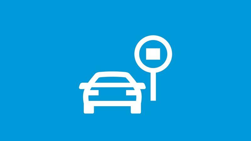 Das Symbol der Verkehrszeichenerkennung auf blauem Grund.