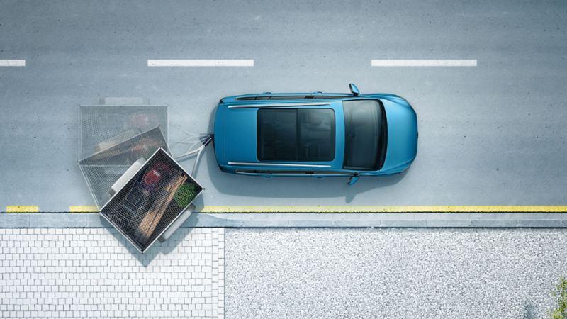 """Rappresentazione schematica dell'assistente per il rimorchio """"Trailer Assist"""" a bordo di una Volkswagen Touran"""