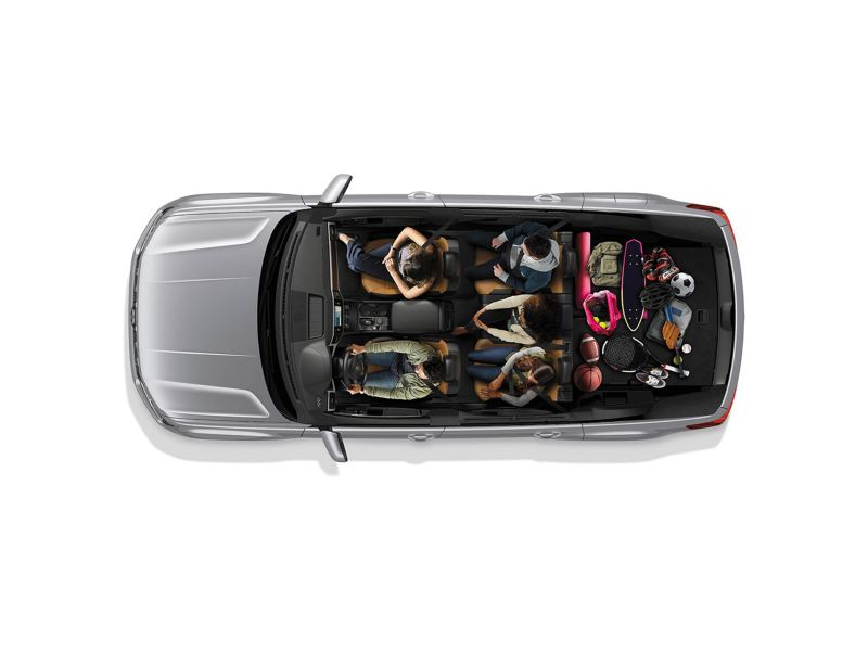 Two row seats with maximum luggage in the trunk