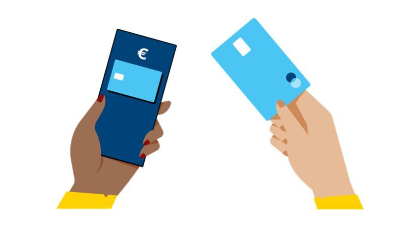 Iconen voor de betaalmogelijkheden app, laadkaart of NFC-communicatie