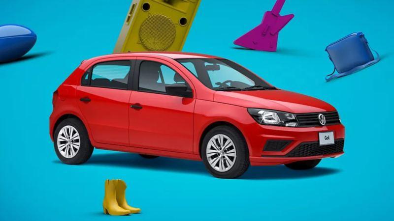 Gol 2020, auto compacto de Volkswagen en color rojo tornado