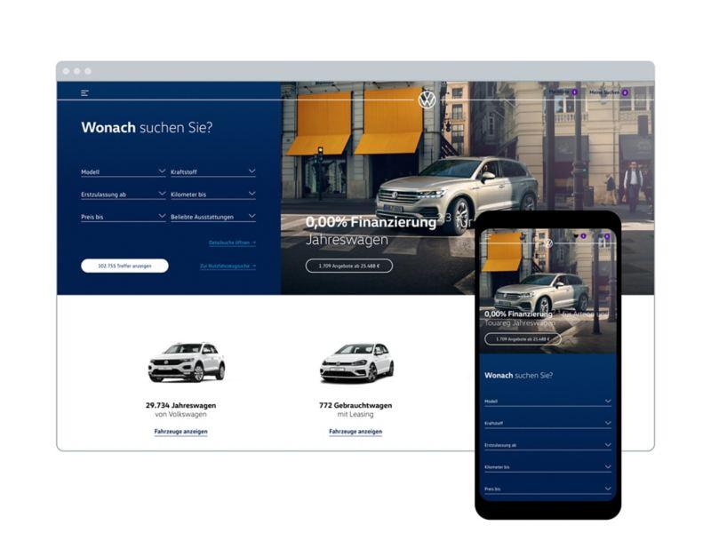 Die VW Autosuche im Browser und auf dem Handy
