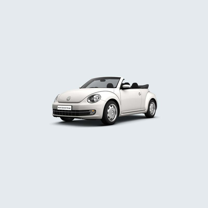 3/4 front view of a white Volkswagen Beetle Cabriolet, with the roof down.