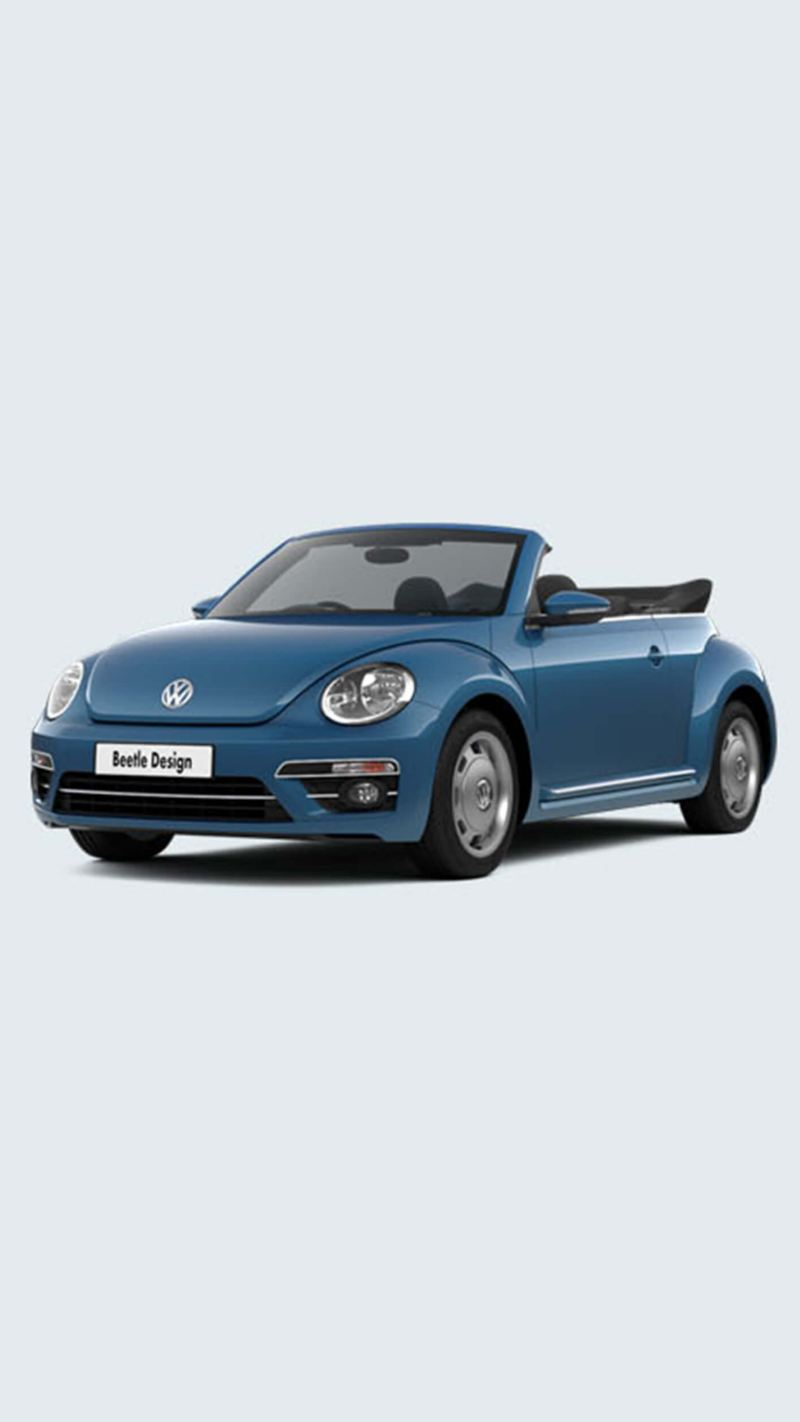 3/4 front view of a blue Volkswagen Beetle Cabriolet, with the roof down.