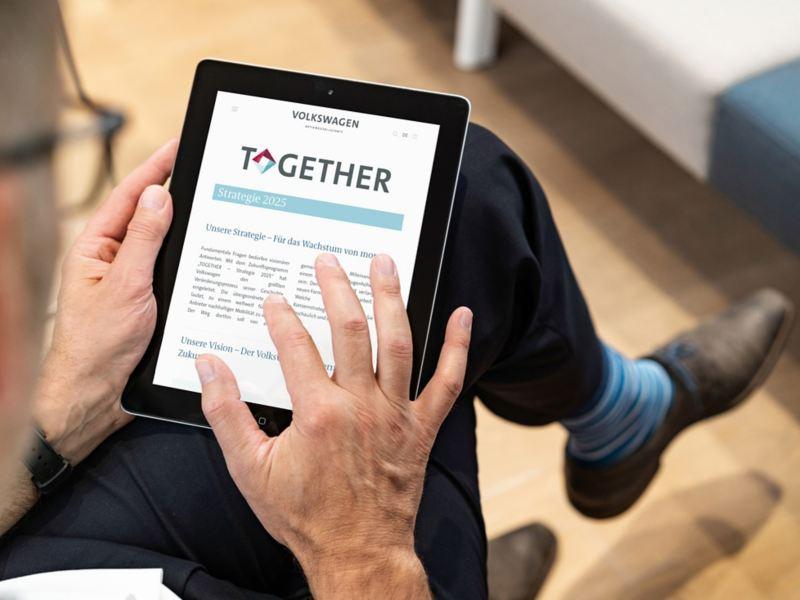 Volkswagen website on a tablet