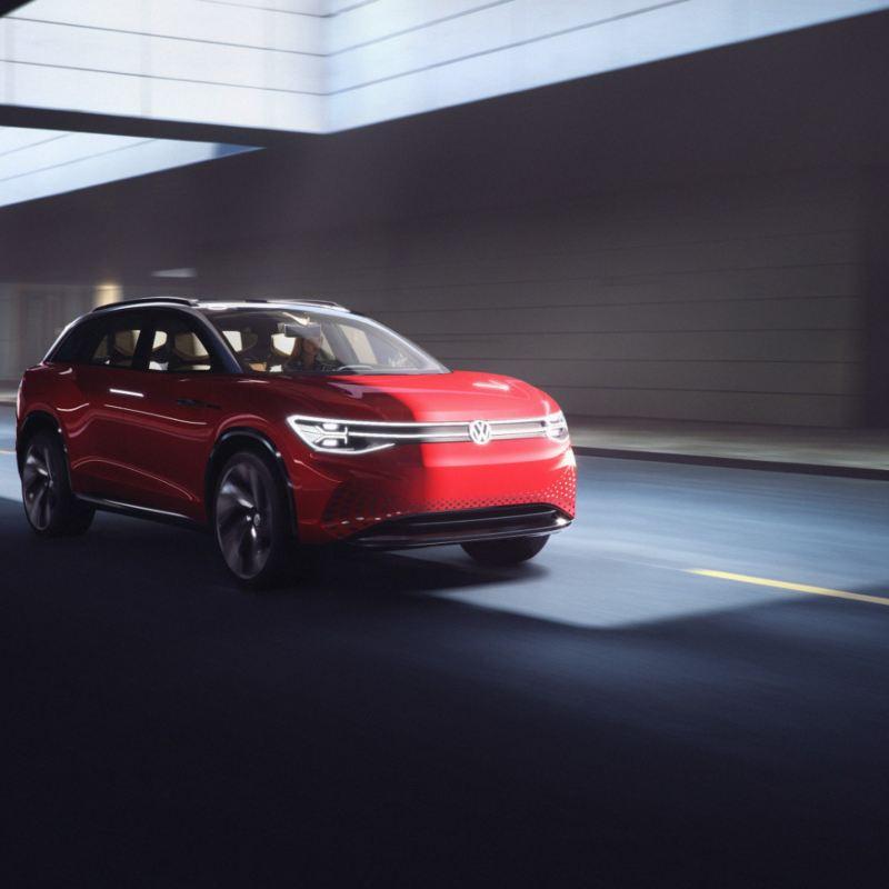 ID. ROOMZZ, la SUV eléctrica de Volkswagen en color rojo