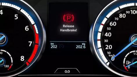 Volkswagen Brakes warning light for release handbrake