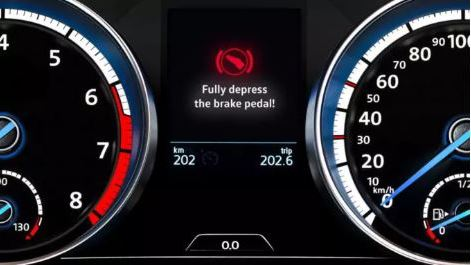 Volkswagen Brakes warning light to fully depress the brake pedal