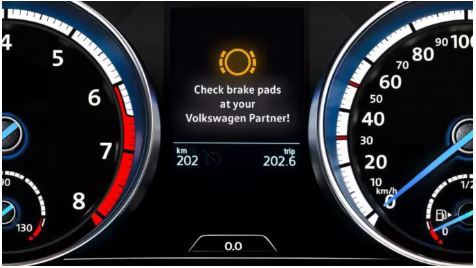 Volkswagen Brakes warning light contact local Volkswagen retailer