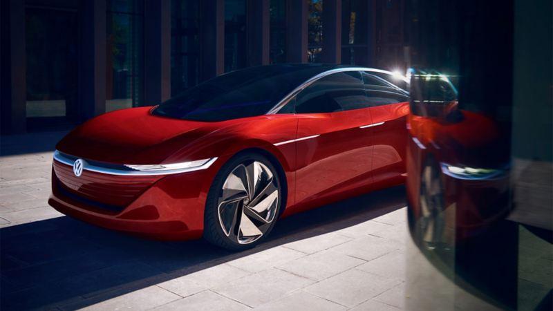A red Volkswagen ID. Vizzion