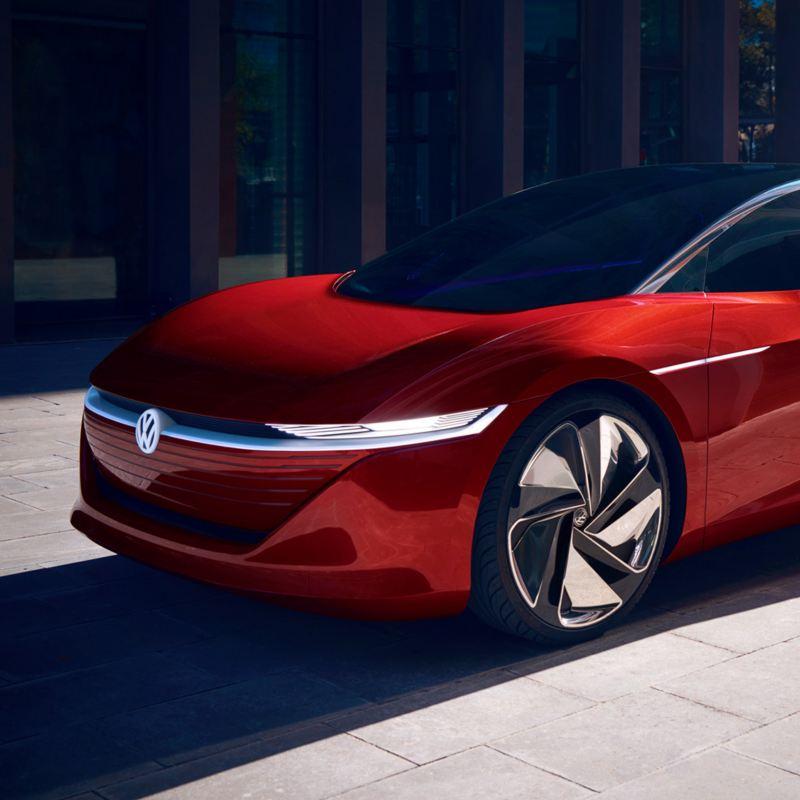 Ein roter Volkswagen ID. Vizzion