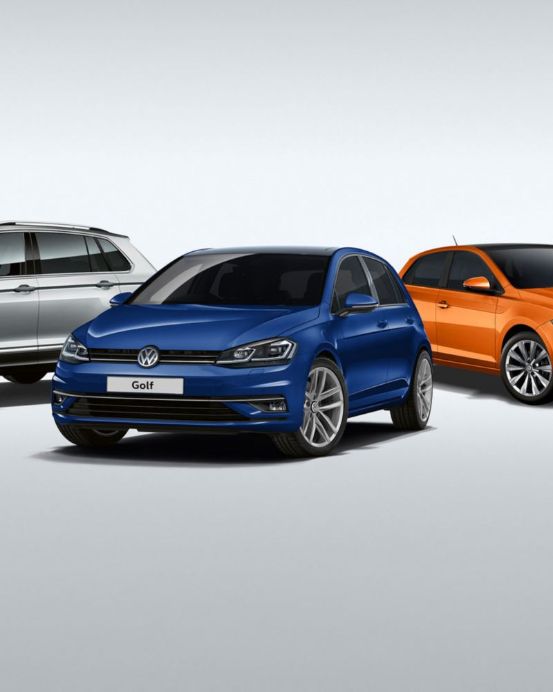 range of vw latest models silver tiguan blue golf orange polo and yellow up