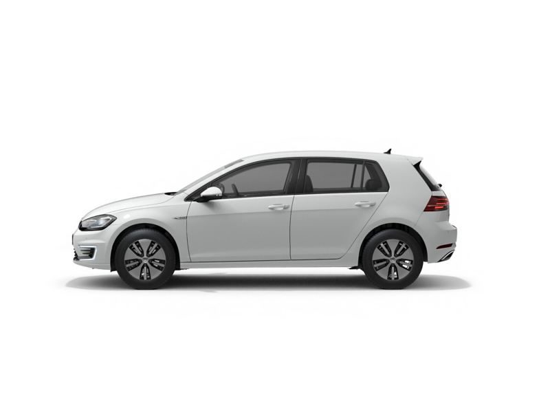 A white Volkswagen e-Golf from profile.