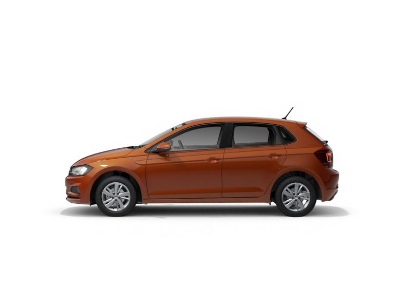 An Orange Volkswagen Polo SE from profile.