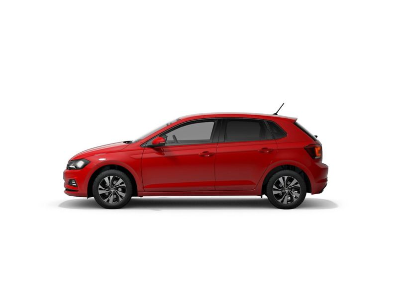 A red Volkswagen Polo Match from profile.