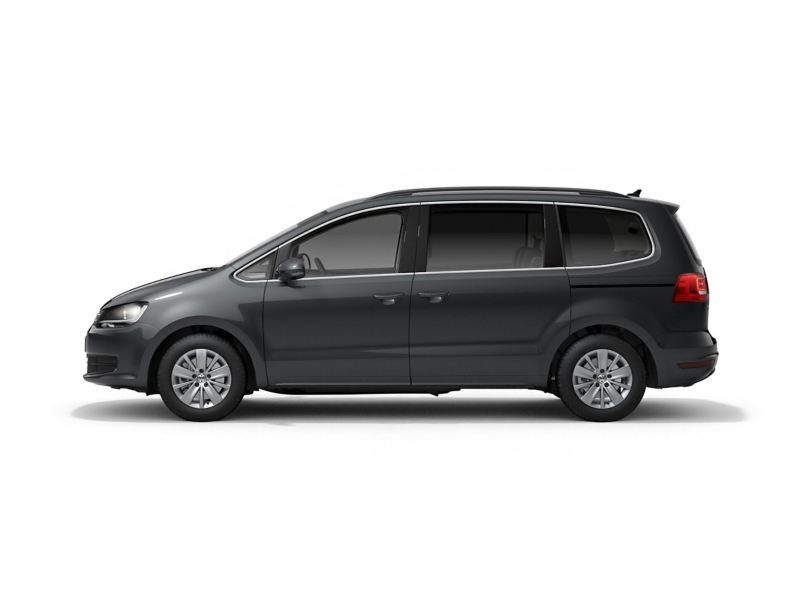 A grey Volkswagen Sharan from profile.