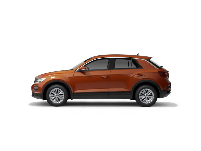 An orangek Volkswagen T-Roc from profile.