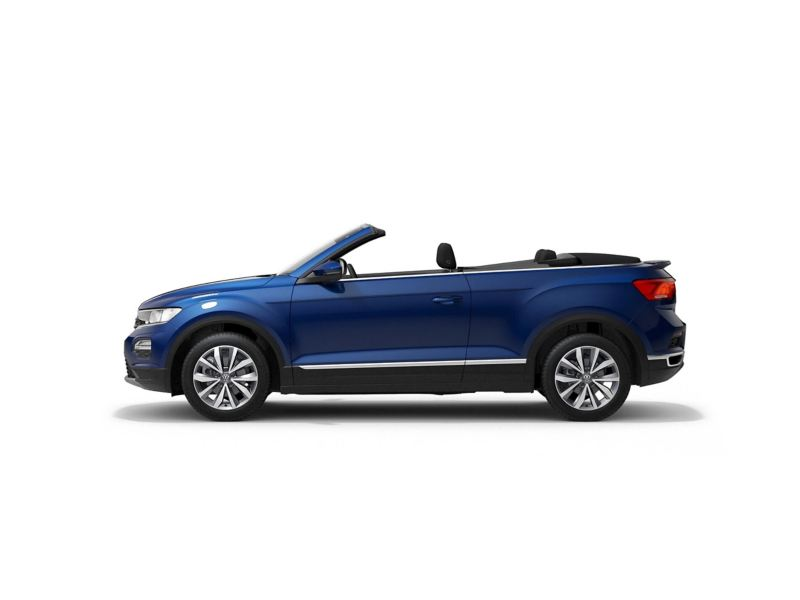 A blue Volkswagen T-Roc Cabriolet from profile.