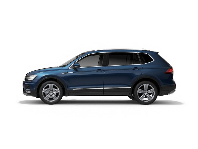 A blue Volkswagen Tiguan Allspace from profile.