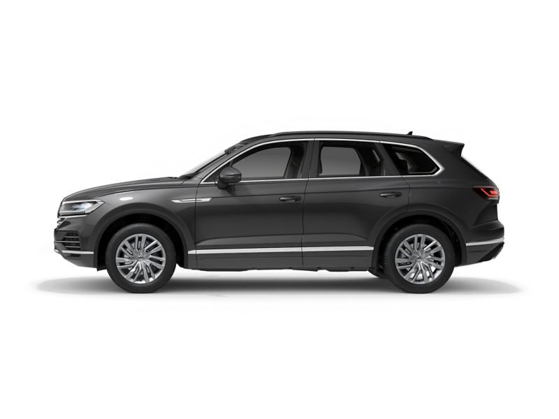 A grey Volkswagen Touareg from profile.