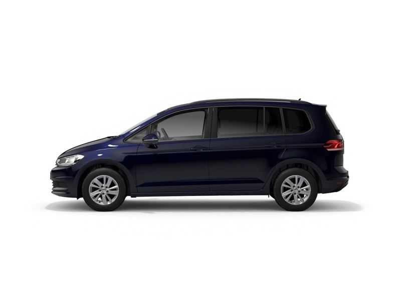 A blue Volkswagen Touran SE from profile.