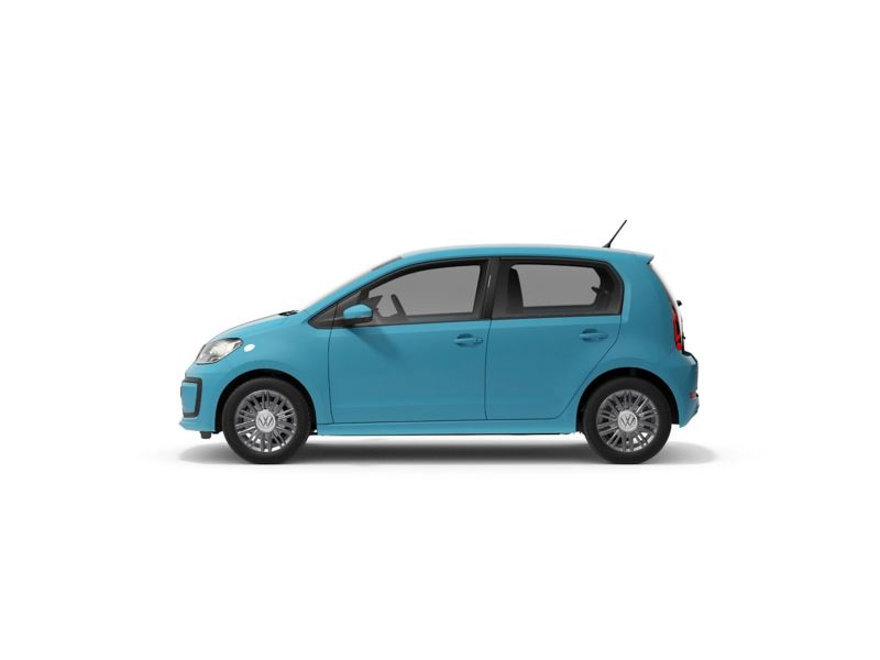 A blue Volkswagen up! from profile.