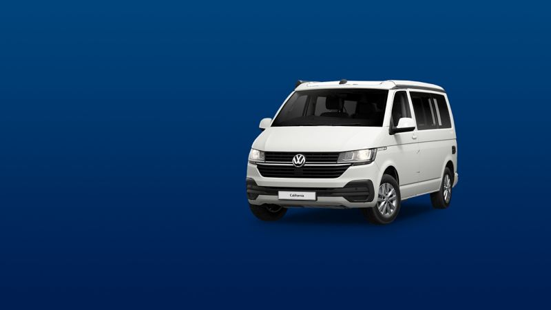 white VW California 6.1 Coast camper van in on blue background