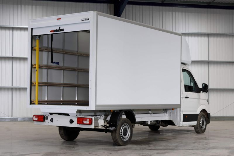Rear of VW Crafter Luton conversion showing open load compartment