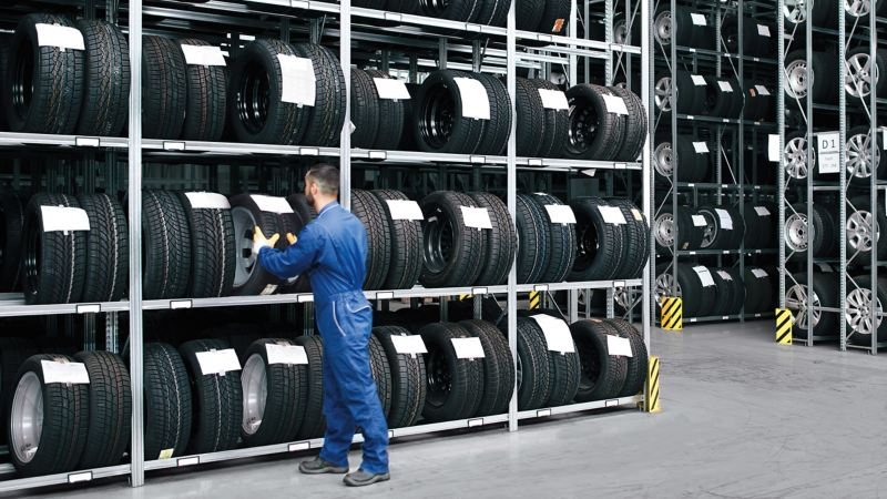 Tyres shop with hundreds of genuine Volkswagen Commercial Vehicles' tyres