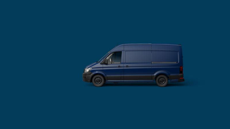 Blue Volkswagen Transporter panel van side view
