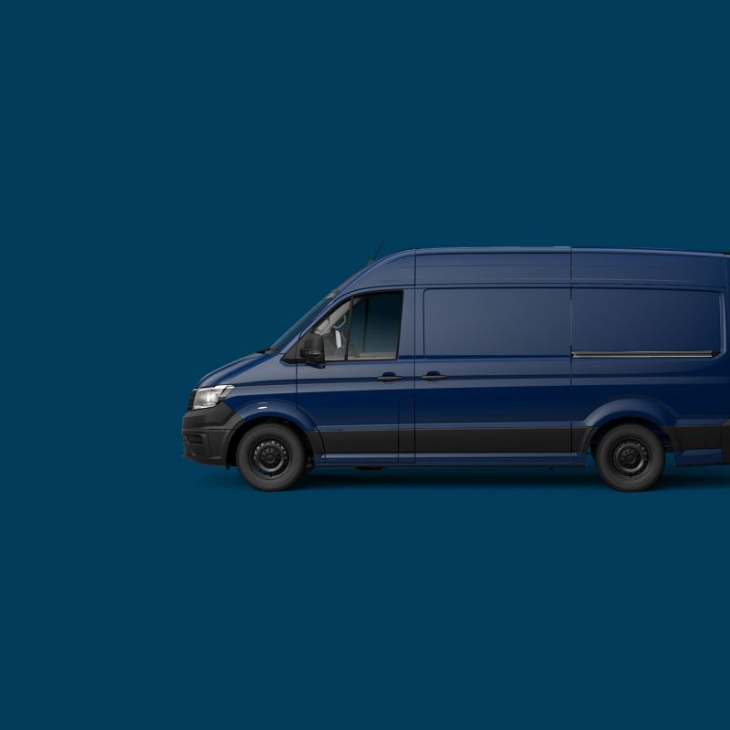 Blue Volkswagen Transporter panel van side view