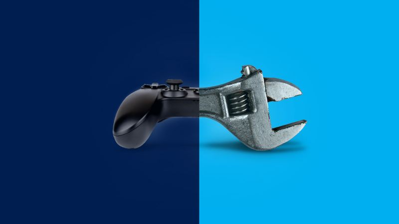 An image featuring a half video game joypad, and half spanner graphic