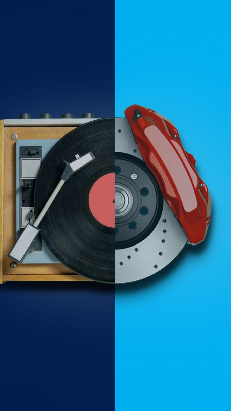 A image featuring a half record player, half power sander graphic