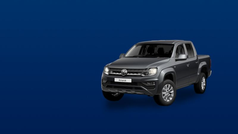 Exterior view of the Amarok pickup in indium grey