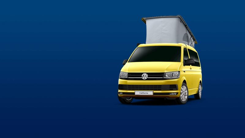 The California Beach camper van in yellow, with roof extended up