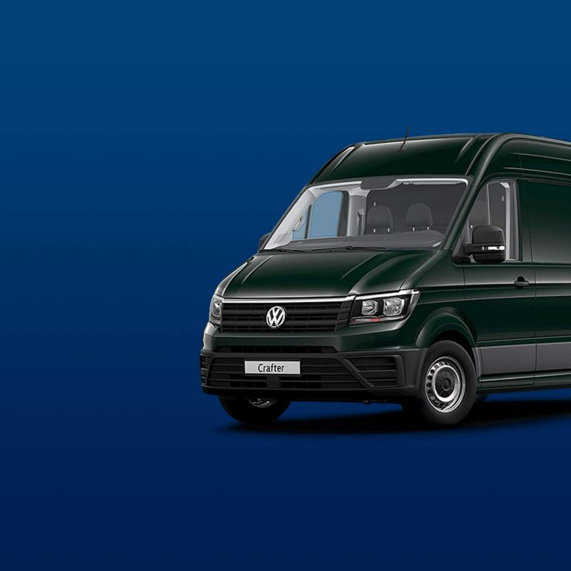 Exterior view of the Crafter panel van in dark green