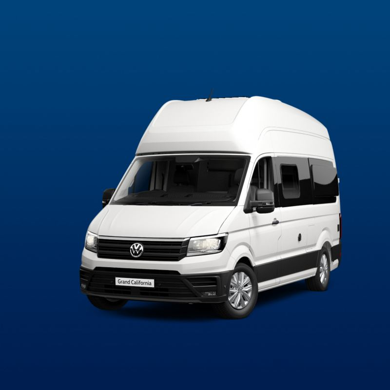 White VW Grand California motorhome on blue background