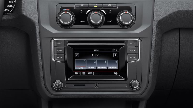 VW dashboard with Car-Net connectivity on screen