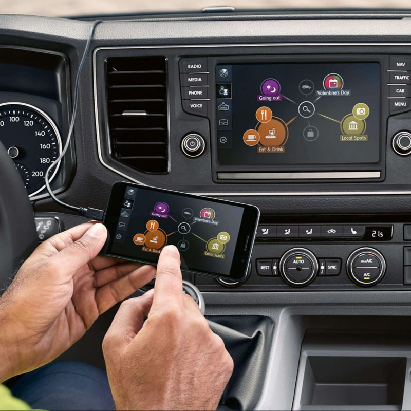 Man using mobile with dashboard screen mirroring display