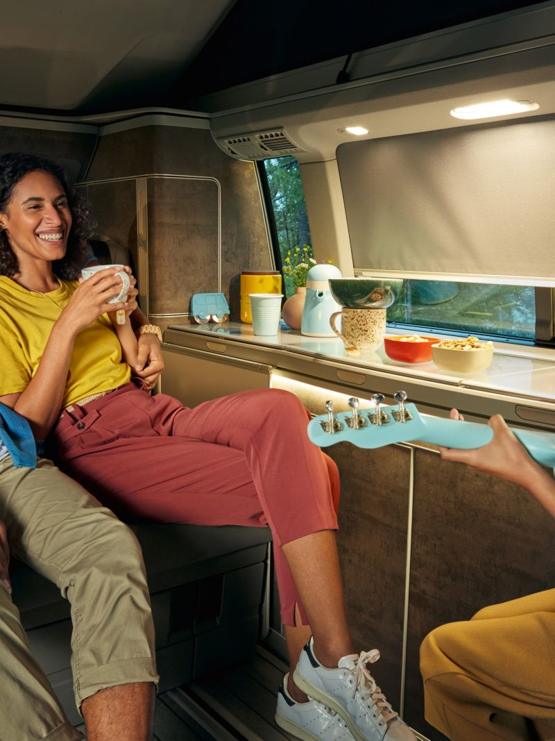 A family in the interior of a California 6.1.