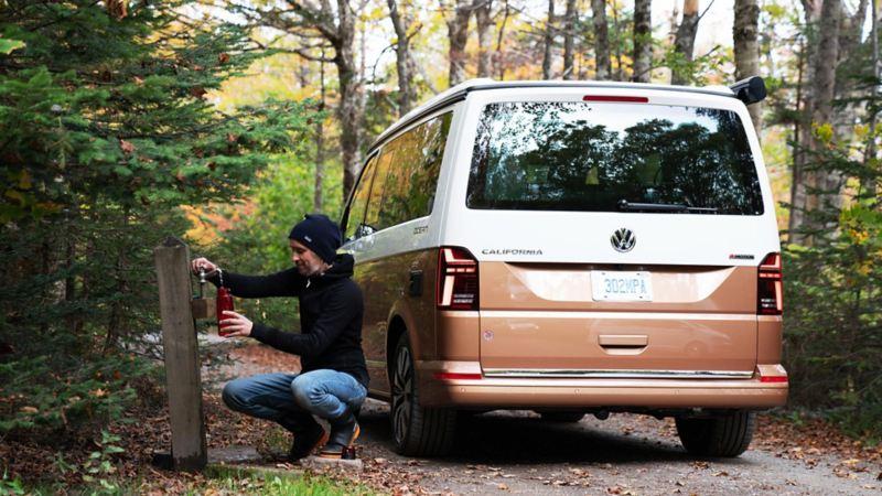 VATTENSTOPP VID BLOMIDON Provincial Park. Camping med California 6.1 är enkelt, och bekvämt