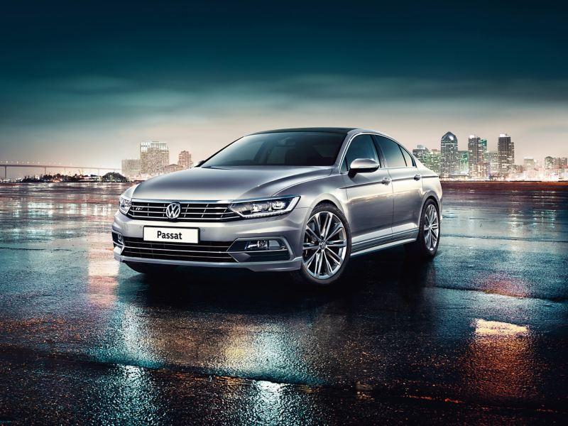 Volkswagen Passat parked in wet street