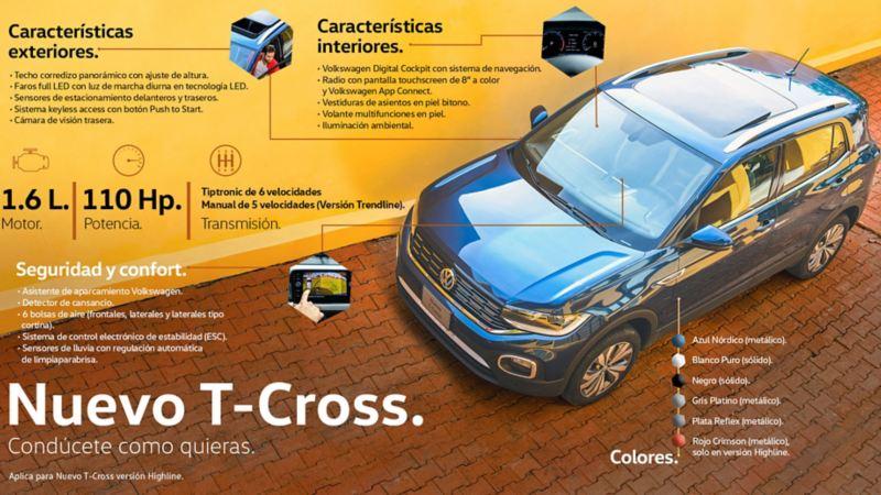 Características exteriores e interiores de Nuevo T-Cross, la camioneta ideal para ciudad de Volkswagen México