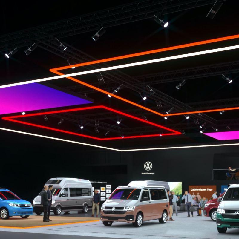 Una vista dall'alto dell'esposizione virtuale – Volkswagen Veicoli Commerciali.