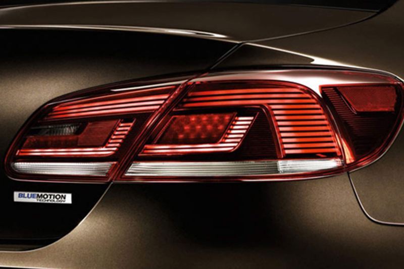 Brake light shot of a bronze Volkswagen CC.